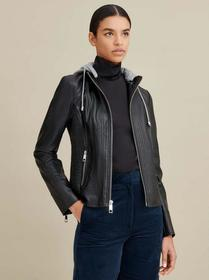 Designer Brand Hooded Scuba Faux-Leather Jacket