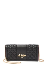 LOVE Moschino Quilted Wallet With Drop Chain Strap