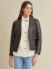 Designer Brand Knit Detail Leather Jacket