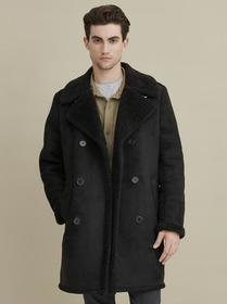 Designer Brand Faux Shearling Car Coat