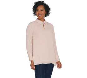 Joan Rivers Flowy Long Sleeve Blouse with Button N