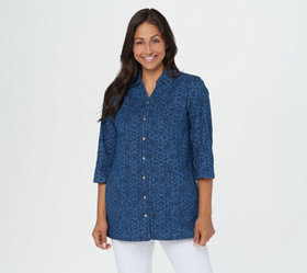 """""""As Is"""" Denim & Co. Printed Denim Button-Up Tunic"""