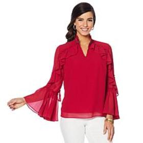 """""""As Is"""" Colleen Lopez Long-Sleeve Beaded Ruffle To"""