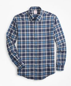 Brooks Brothers Madison Fit Blue Plaid Flannel Spo