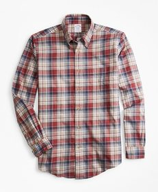 Brooks Brothers Regent Fit Camel Plaid Flannel Spo