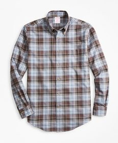 Brooks Brothers Madison Fit Plaid Flannel Sport Sh