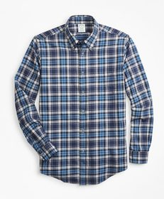Brooks Brothers Milano Fit Blue Plaid Flannel Spor