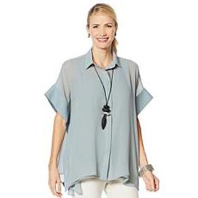 """""""As Is"""" WynneLayers Woven Poncho Shirt"""