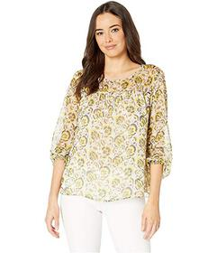 Vince Camuto Long Sleeve Cluster Blooms Ruched Yok