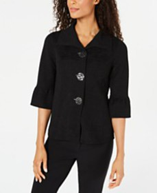 JM Collection Textured Bell-Sleeve Jacket, Created