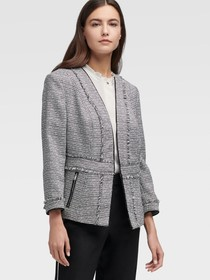 Donna Karan Open Front Tweed Jacket