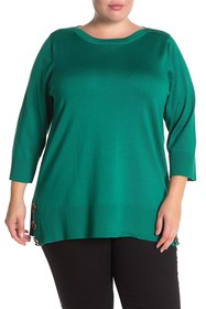 CG Sport Boatneck Side Button Tunic Sweater (Plus