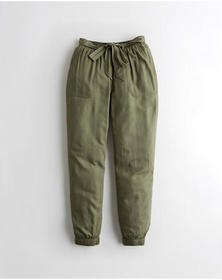 Hollister Ultra High-Rise Belted Joggers, OLIVE