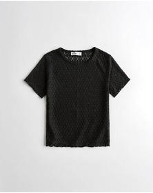 Hollister Lace T-Shirt, BLACK