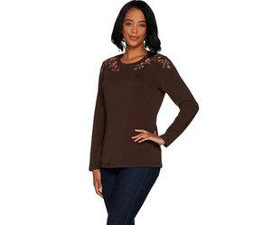 Denim & Co. Perfect Jersey Round Neck Long Sleeve