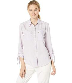 Jones New York Tie Sleeve Button Up Shirt
