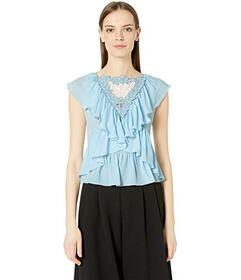 See by Chloe Sleeveless Lace Ruffle Jewel Neckline