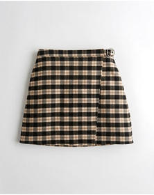 Hollister Ultra High-Rise Wrap-Front Plaid Skirt,