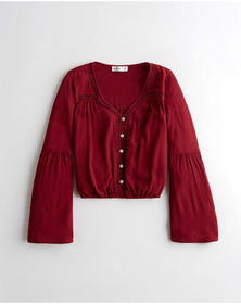 Hollister Lace-Trim Bell-Sleeve Top, BURGUNDY