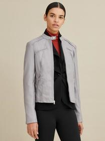 Designer Brand Faux-Leather Snap Tab Jacket