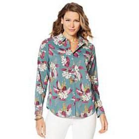 """As Is"" Motto Stretch Chiffon Printed Button-Front"