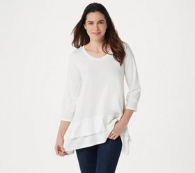 LOGO by Lori Goldstein Cotton Modal Top with Tiere