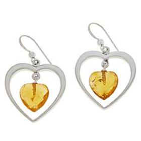 Jay King Sterling Silver Citrine Heart Drop Earrin