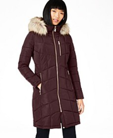 Hooded Faux-Fur-Trim Puffer Coat, Created For Macy