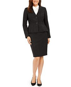 Pleated-Hem Shine Skirt Suit