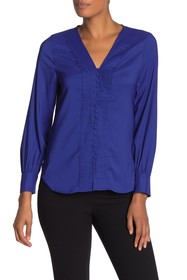 T Tahari Front Pintuck Pleat Long Sleeve Blouse