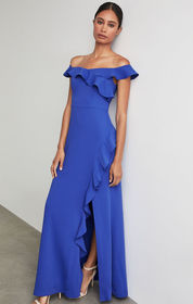 BCBG Off The Shoulder Asymmetric Ruffle Gown