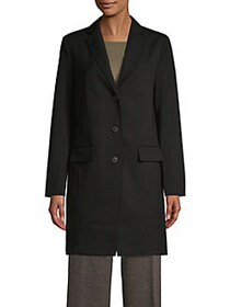 JONES NEW YORK Notch Lapel Topper Coat BLACK