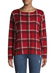JONES NEW YORK Oversized Checkered Long-Sleeve Top