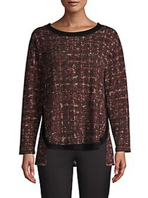 JONES NEW YORK Hi-Lo Tweed Sweater BROWN TWEED