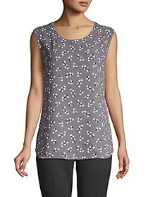 Anne Klein Floral Sleeveless Blouse GREY