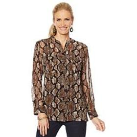 """As Is"" Colleen Lopez Animal Print Button-Down Blo"