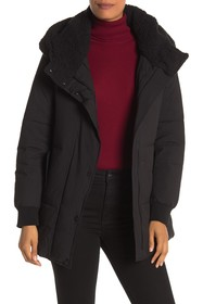 Marc New York Long Sleeve Faux Shearling Hooded Pu