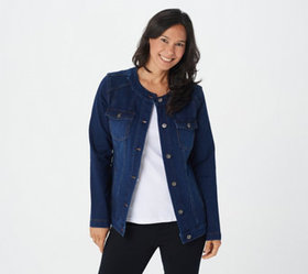 """""""As Is"""" Denim & Co. Comfy Knit Denim Jacket with S"""