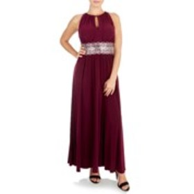 Petite Halter Neck Pleated Gown with Rhinestone Wa