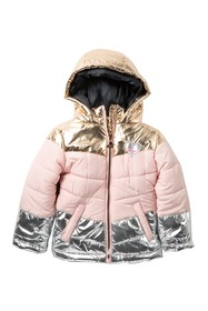 Betsey Johnson Metallic Accent Hooded Puffer Jacke
