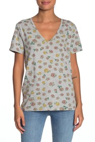 Lucky Brand Rose Print V-Neck T-Shirt