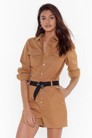 Nasty Gal Womens Camel Come Out and Play Button-Do