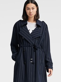 Donna Karan STRIPED TRENCH COAT
