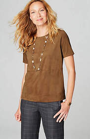 Faux-Suede Seamed Top