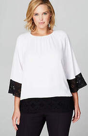 Christian Siriano For J.Jill Lace-Trimmed Top