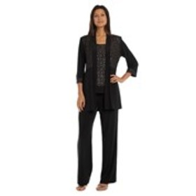 Shimmering Pantsuit with Open-Front Jacket