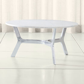 Crate Barrel Elke Round Marble Coffee Table with P