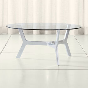 Crate Barrel Elke Round Glass Coffee Table with Po
