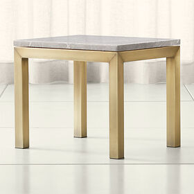 Crate Barrel Parsons Grey Marble Top/ Brass Base 2