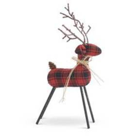 K&K Interiors Red & Plaid Reindeer with Twig Antle